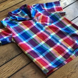 Vintage Plaid Short Sleeve Button-down Shirt, M